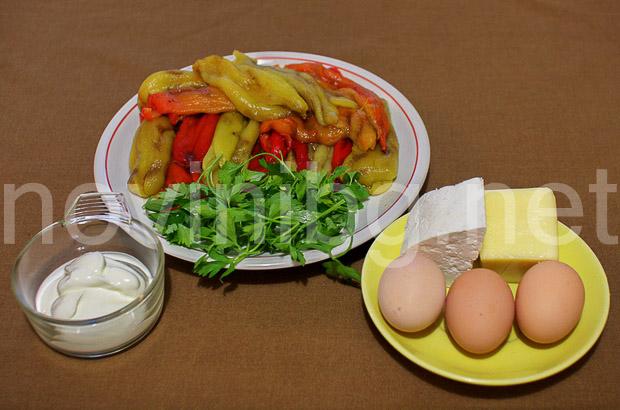 Обърната солена торта от чушки - продукти